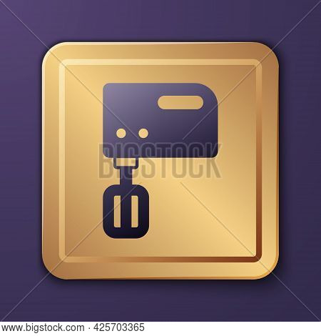 Purple Electric Mixer Icon Isolated On Purple Background. Kitchen Blender. Gold Square Button. Vecto