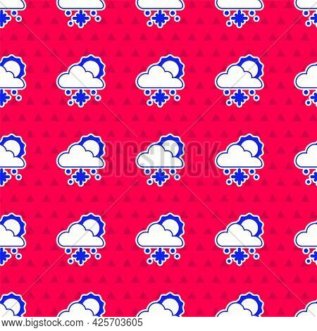 Blue Cloud With Snow And Sun Icon Isolated Seamless Pattern On Red Background. Cloud With Snowflakes