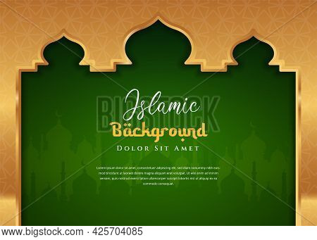 Islamic Background Design With Mosque Illustration Ramadan Kareem. Can Be Used For Greetings Card, B
