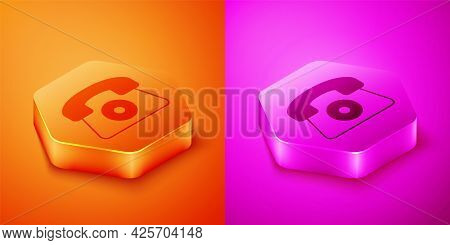 Isometric Telephone 24 Hours Support Icon Isolated On Orange And Pink Background. All-day Customer S