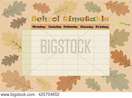 School Timetable Vector. Daily Class Planner. Education Concept.