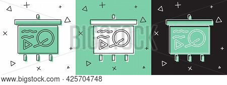 Set Scenario On Chalkboard Icon Isolated On White And Green, Black Background. Script Reading Concep