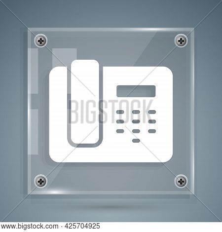 White Telephone 24 Hours Support Icon Isolated On Grey Background. All-day Customer Support Call-cen