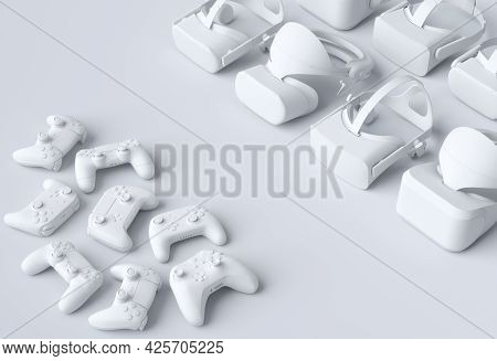 Top View Monochrome Virtual Reality Glasses And Controllers For Online And Cloud Gaming On White Bac