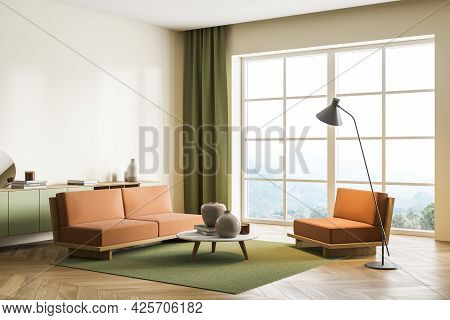 Corner Of Living Room With Orange Sofas. Coffee Table Beside Love Seat And Lamp. Pistachio Shelf, Ca