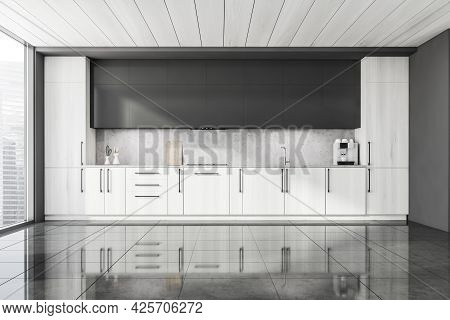 Half Wooden Panoramic Kitchen And Ceiling. Dark Grey Upper Elements And Right Wall. Vinyl Splashback