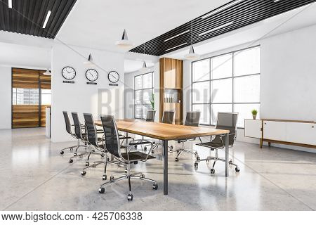 Corner Of Panoramic Office With Wooden And Black Decorations. Three Partition Walls With Cabinets An