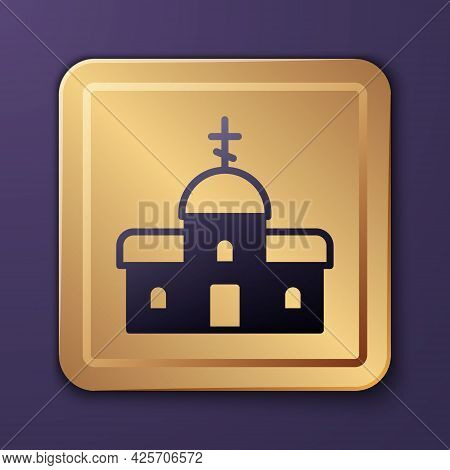 Purple Church Building Icon Isolated On Purple Background. Christian Church. Religion Of Church. Gol