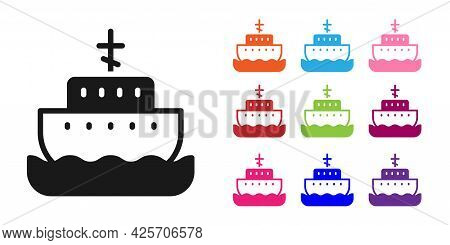 Black Ark Of Noah Icon Isolated On White Background. Wood Big High Cargo. Set Icons Colorful. Vector