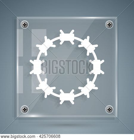 White Crown Of Thorns Of Jesus Christ Icon Isolated On Grey Background. Religion, Bible, Christianit