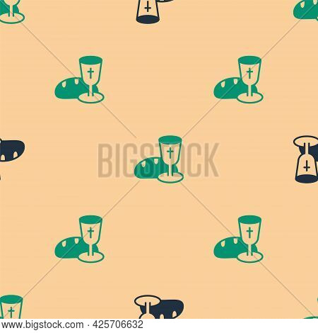 Green And Black Goblet And Bread Icon Isolated Seamless Pattern On Beige Background. Bread And Wine
