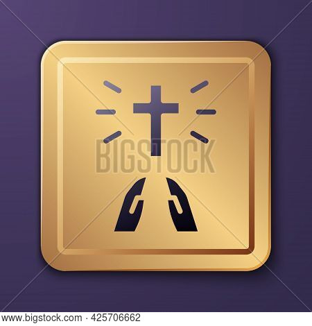 Purple Hands In Praying Position Icon Isolated On Purple Background. Prayer To God With Faith And Ho