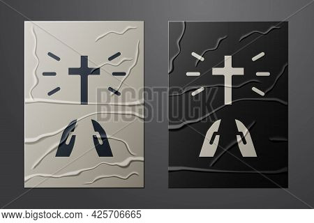 White Hands In Praying Position Icon Isolated On Crumpled Paper Background. Prayer To God With Faith