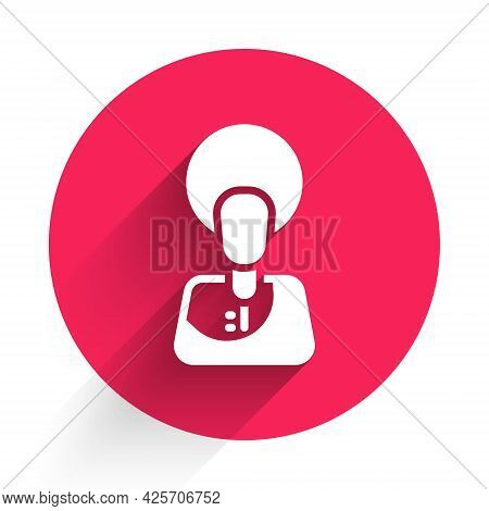 White Jesus Christ Icon Isolated With Long Shadow. Red Circle Button. Vector