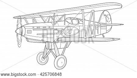 Adult Military Aircraft Coloring Page For Book And Drawing. Airplane. War-plane. Vector Illustration