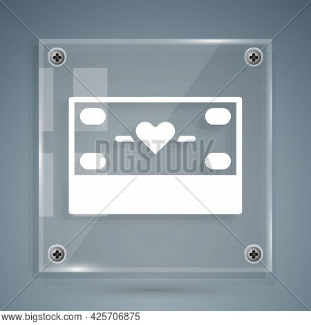 White Donation And Charity Icon Isolated On Grey Background. Donate Money And Charity Concept. Squar