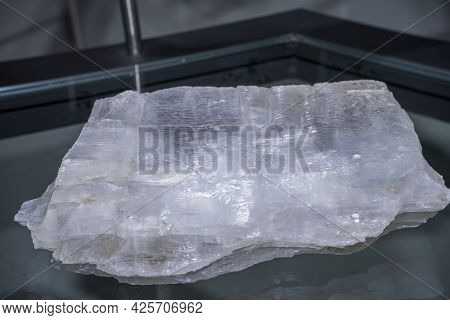 Macro Shooting Of Collection Natural Rock - Crystal Of Gypsum Mineral Stone Ore Extracted, From Lamp