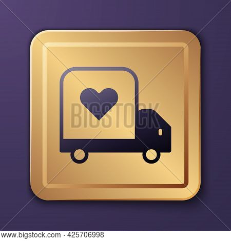Purple Delivery Truck With Heart Icon Isolated On Purple Background. Love Delivery Truck. Love Truck