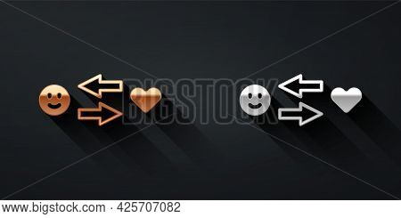 Gold And Silver Romantic Relationship Icon Isolated On Black Background. Romantic Relationship Or Pl