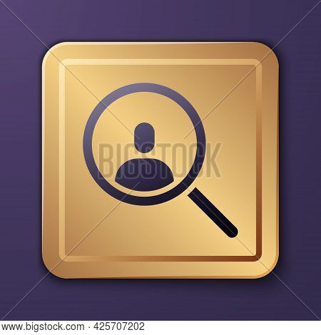 Purple Magnifying Glass For Search A People Icon Isolated On Purple Background. Recruitment Or Selec