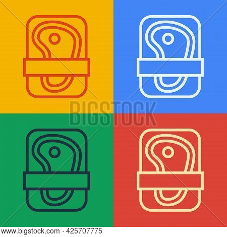 Pop Art Line Meat Packaging Steak Icon Isolated On Color Background. Fresh Meat Beef Steak In Plasti