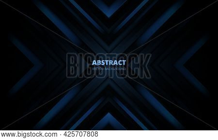 3d Modern Dark Blue Futuristic Abstract Background With Arrows And Angles. Luxury Three-dimensional
