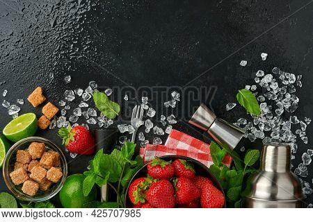 Food Fresh Ingredients For Making Lemonade, Infused Detox Water Or Cocktail. Strawberries, Lime, Min