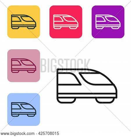 Black Line High-speed Train Icon Isolated On White Background. Railroad Travel And Railway Tourism.