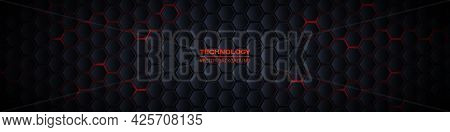 Dark Gray And Red Horizontal Hexagonal 3d Technology Abstract Vector Background. Red Bright Energy F