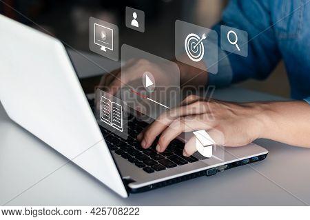 E-learning Concept, Webinar Online, Education On The Internet.