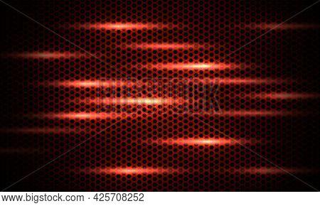 Dark Red Background. Dark Hexagon Carbon Fiber Texture. Red Honeycomb Metal Texture Steel Background
