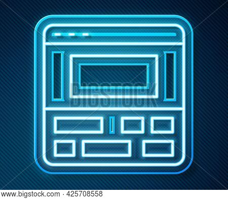 Glowing Neon Line Video Recorder Or Editor Software On Laptop Icon Isolated On Blue Background. Vide