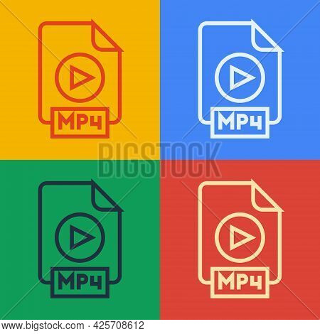 Pop Art Line Mp4 File Document. Download Mp4 Button Icon Isolated On Color Background. Mp4 File Symb