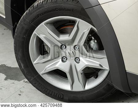 Novosibirsk, Russia - June 29, 2021: Renault  Sandero Stepway,  Close Up Of The Car Front Detail Wit