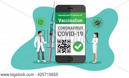 Covid-19 Vaccine E-passport On A Smartphone With Qr Code Certificate E-passport App For Internationa