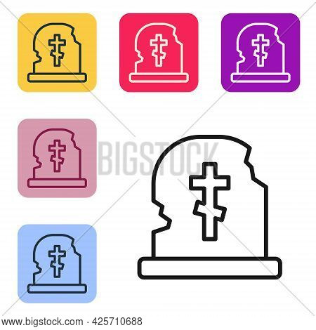 Black Line Grave With Tombstone Icon Isolated On White Background. Set Icons In Color Square Buttons
