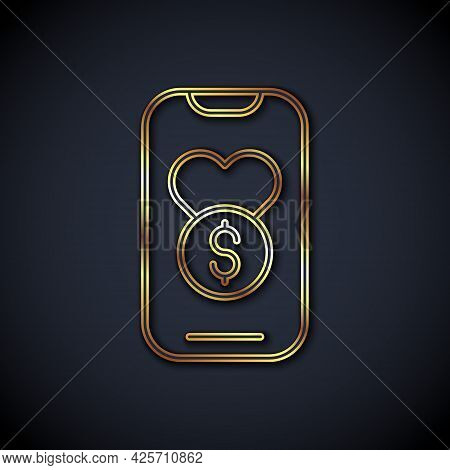 Gold Line Donation And Charity Icon Isolated On Black Background. Donate Money And Charity Concept.