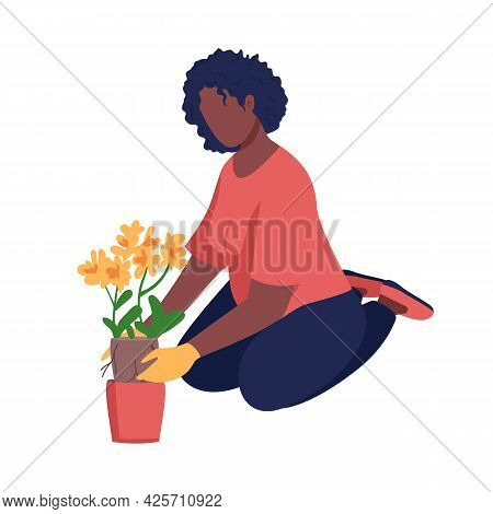 Woman Gardening Semi Flat Color Vector Character. Cultivate Plant. Sitting Figure. Full Body Person