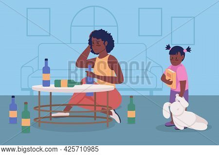 Alcoholism Issue In Family Flat Color Vector Illustration. Upset Woman Sit With Bottles. Substance A