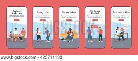 Bad Habits Onboarding Mobile App Screen Flat Vector Template. Gadget Addiction. Walkthrough Website