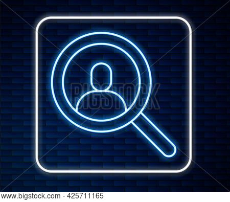 Glowing Neon Line Magnifying Glass For Search A People Icon Isolated On Brick Wall Background. Recru
