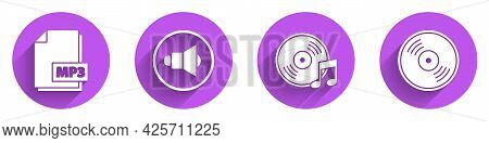 Set Mp3 File Document, Speaker Volume, Vinyl Disk And Vinyl Disk Icon With Long Shadow. Vector