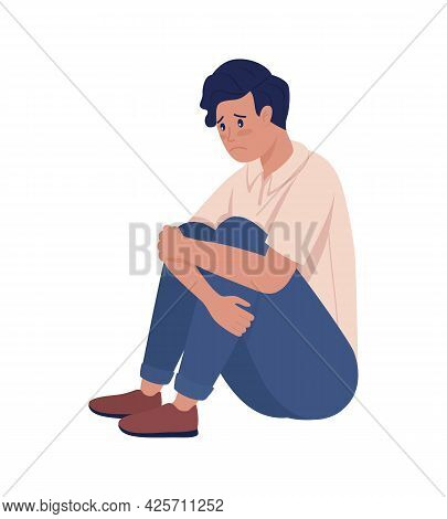 Sad Lonely Teenager Boy Semi Flat Color Vector Character. Sitting Figure. Full Body Person On White.