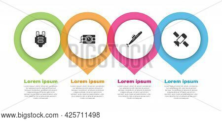 Set Bulletproof Vest, Dynamite And Timer Clock, Submarine And Satellite. Business Infographic Templa
