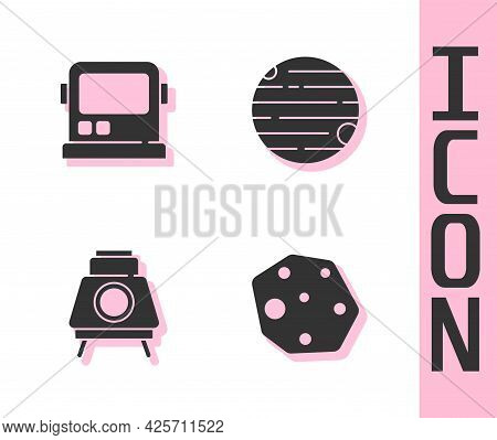 Set Asteroid, Astronaut Helmet, Mars Rover And Planet Icon. Vector