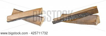 Isolated Firewood Pile On White Background. Firewood As Fuel For The Fireplace, Split Parts Of Wood