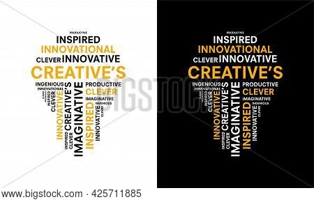 Word Of Creative Typography With Bulb Shape, Creative Typography Text Word Art Vector Marketing Illu