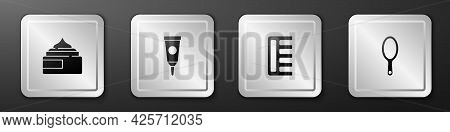 Set Cream Or Lotion Cosmetic Tube, , Hairbrush And Hand Mirror Icon. Silver Square Button. Vector