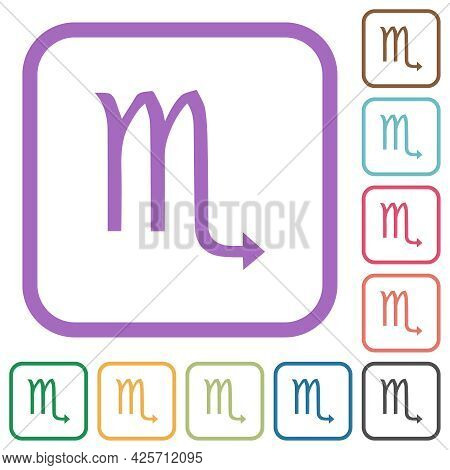 Scorpio Zodiac Symbol Simple Icons In Color Rounded Square Frames On White Background