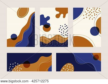 Set Of Abstract Banner, Cover Brochure, Poster Modern Line Wave Shape Pattern With Hand Drawn On Whi